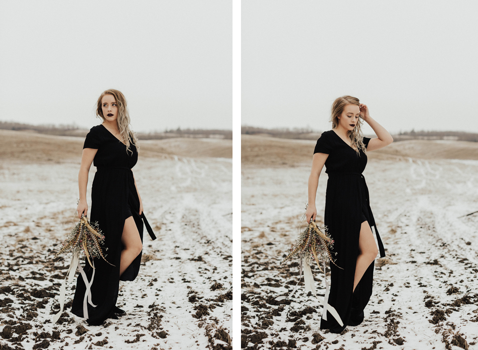 Moody Winter Bridals Edmonton Portrait and Wedding Photographer - Michelle Larmand Photography -003