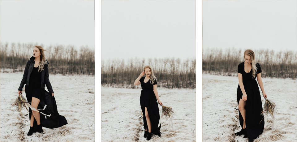Moody Winter Bridals Edmonton Portrait and Wedding Photographer - Michelle Larmand Photography -008