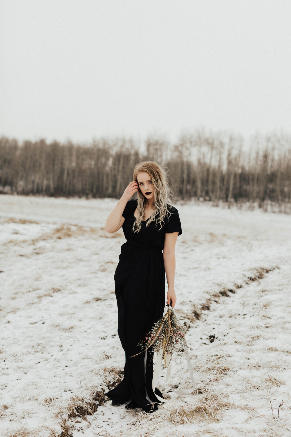 Moody Winter Bridals Edmonton Portrait and Wedding Photographer - Michelle Larmand Photography -012