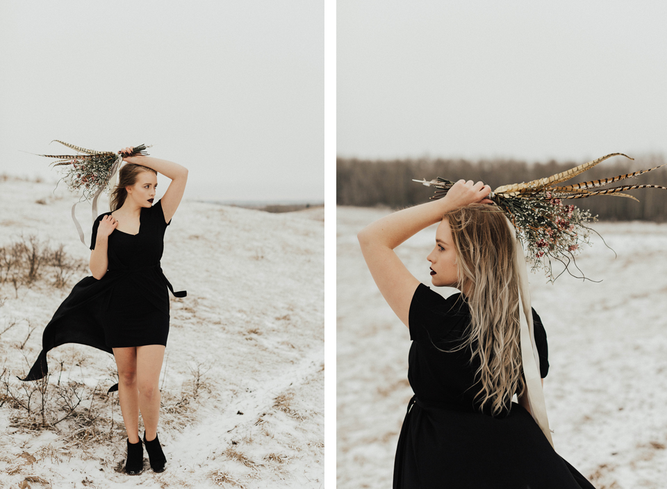 Moody Winter Bridals Edmonton Portrait and Wedding Photographer - Michelle Larmand Photography -022