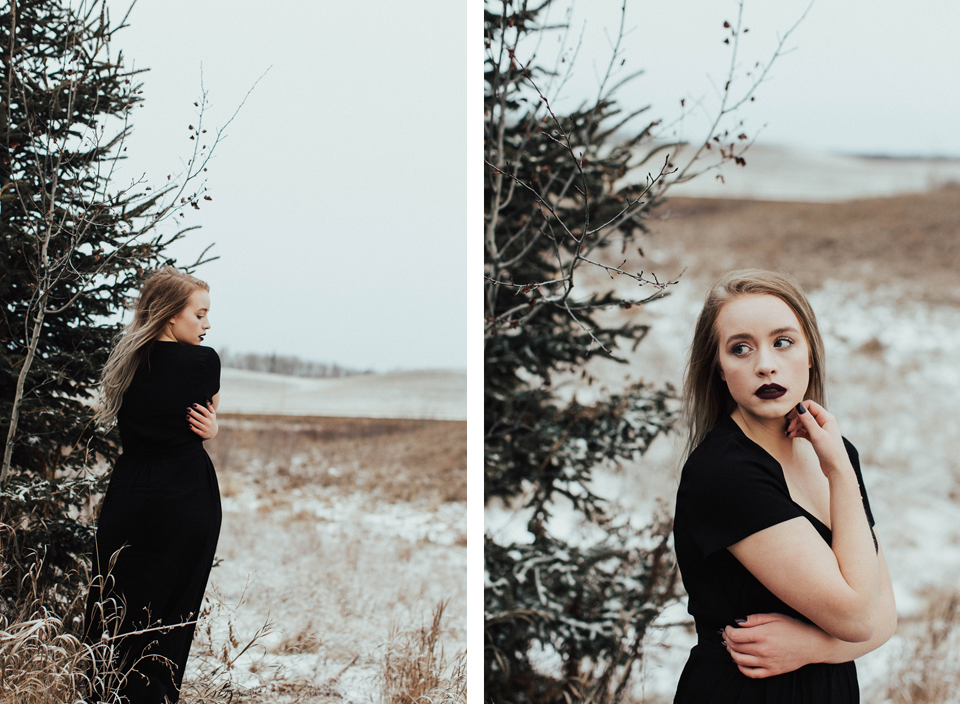 Moody Winter Bridals Edmonton Portrait and Wedding Photographer - Michelle Larmand Photography -050