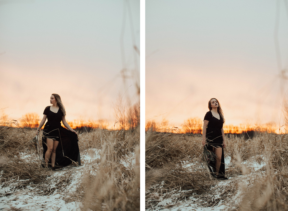 Moody Winter Bridals Edmonton Portrait and Wedding Photographer - Michelle Larmand Photography -066