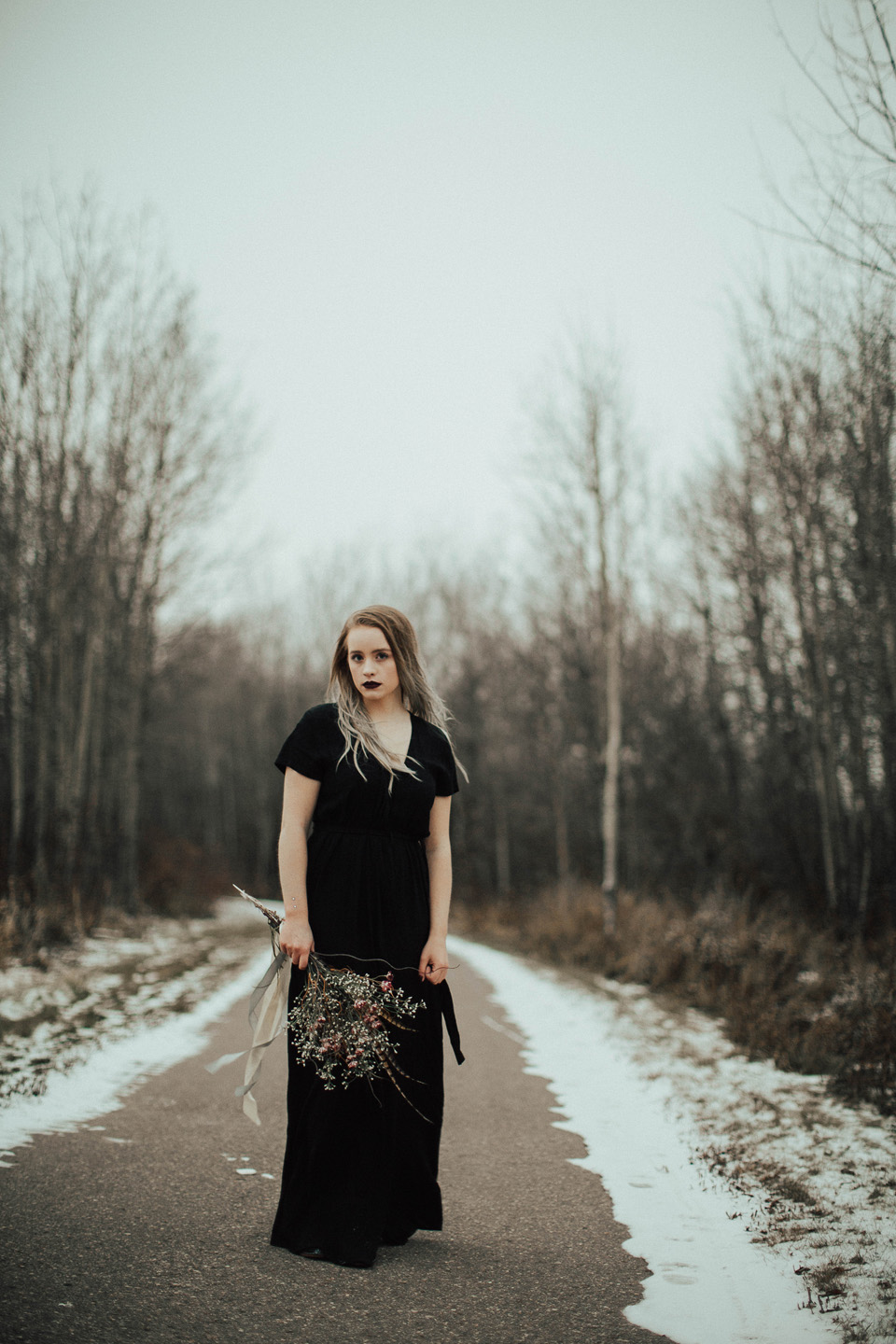 Moody Winter Bridals Edmonton Portrait and Wedding Photographer - Michelle Larmand Photography -075