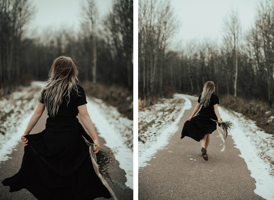 Moody Winter Bridals Edmonton Portrait and Wedding Photographer - Michelle Larmand Photography -076
