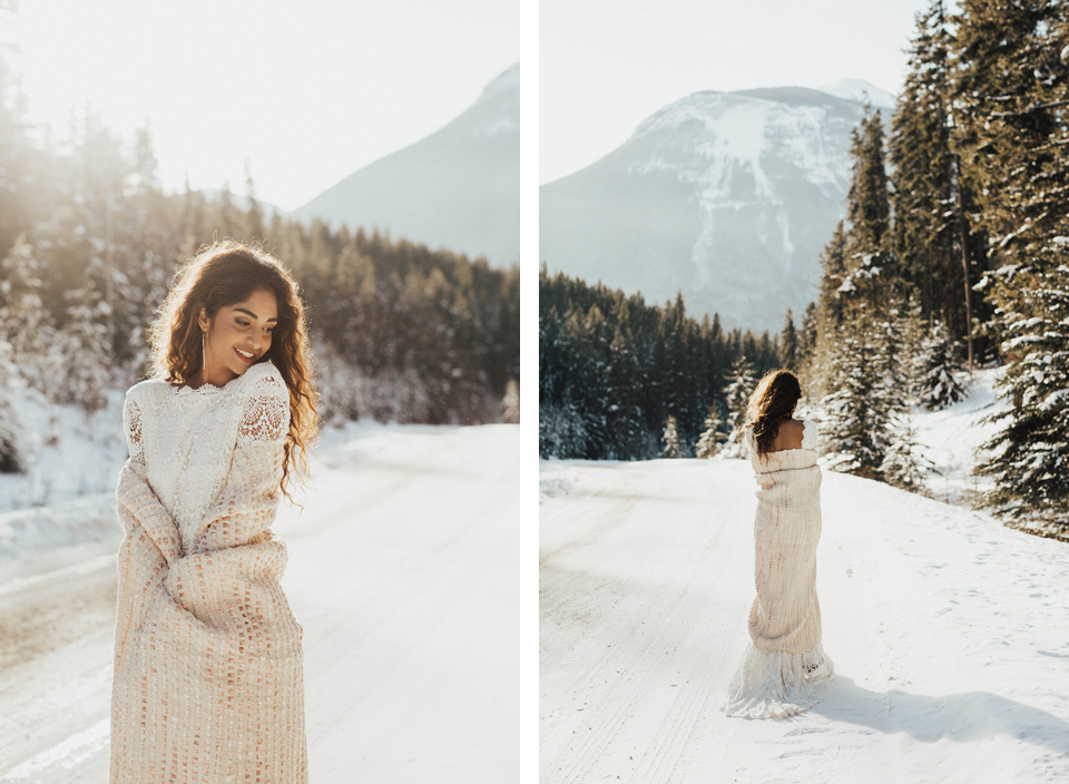 Winter Mountain Bohemain Bridal Inspiration - Michelle Larmand Photography - Banff Wedding Photography -011