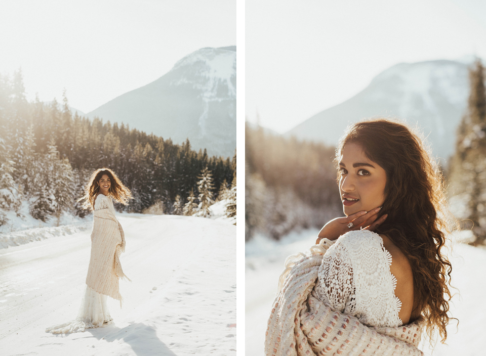Winter Mountain Bohemain Bridal Inspiration - Michelle Larmand Photography - Banff Wedding Photography -014