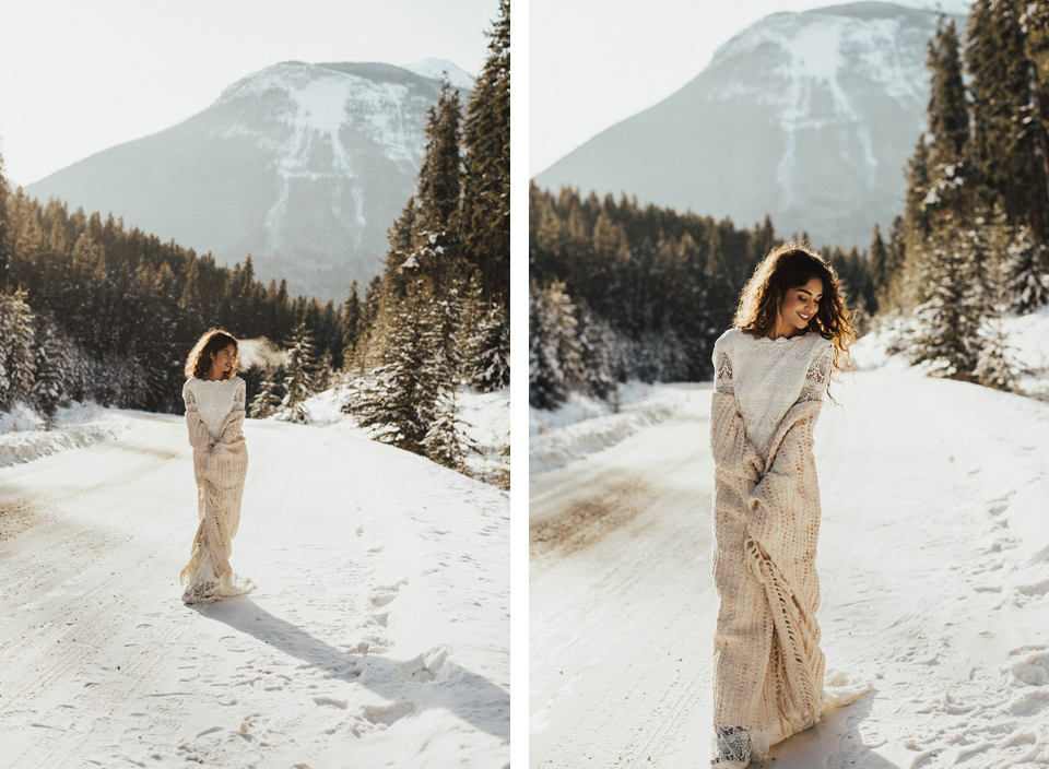 Winter Mountain Bohemain Bridal Inspiration - Michelle Larmand Photography - Banff Wedding Photography -017