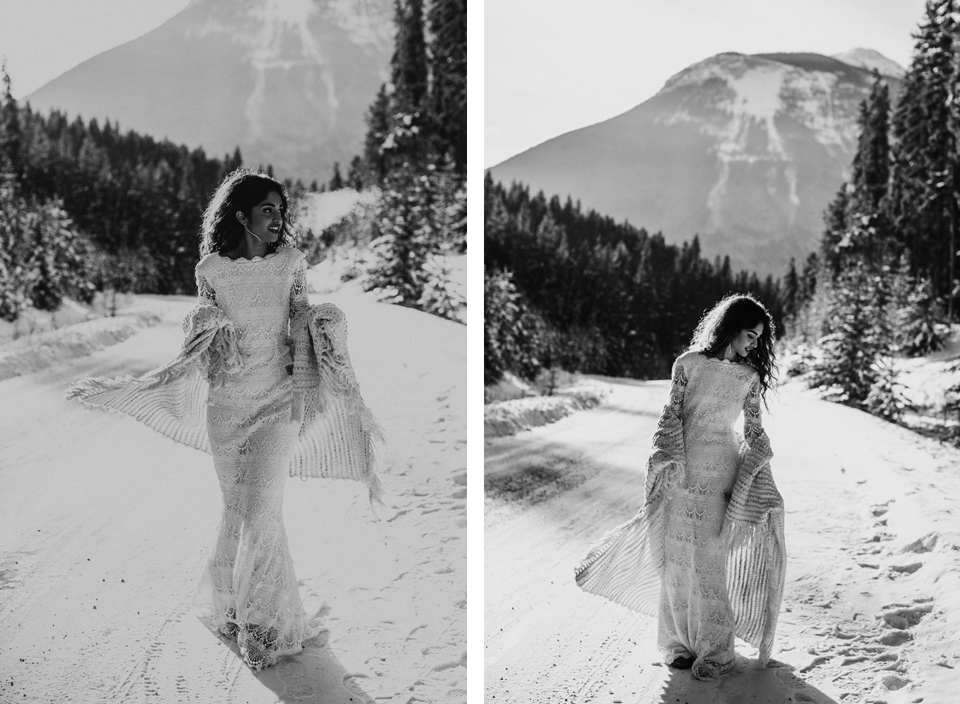 Winter Mountain Bohemain Bridal Inspiration - Michelle Larmand Photography - Banff Wedding Photography -020