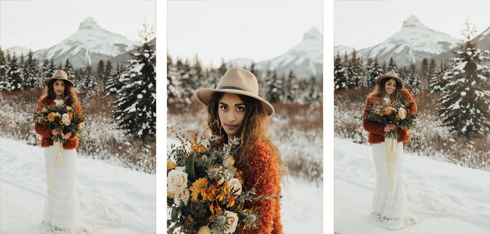 Winter Mountain Bohemain Bridal Inspiration - Michelle Larmand Photography - Banff Wedding Photography -051