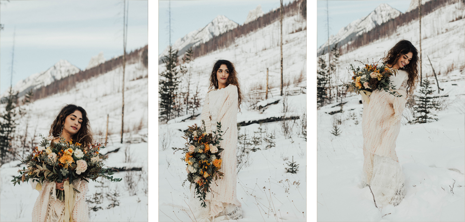 Winter Mountain Bohemain Bridal Inspiration - Michelle Larmand Photography - Banff Wedding Photography -056