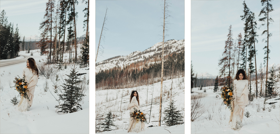 Winter Mountain Bohemain Bridal Inspiration - Michelle Larmand Photography - Banff Wedding Photography -058