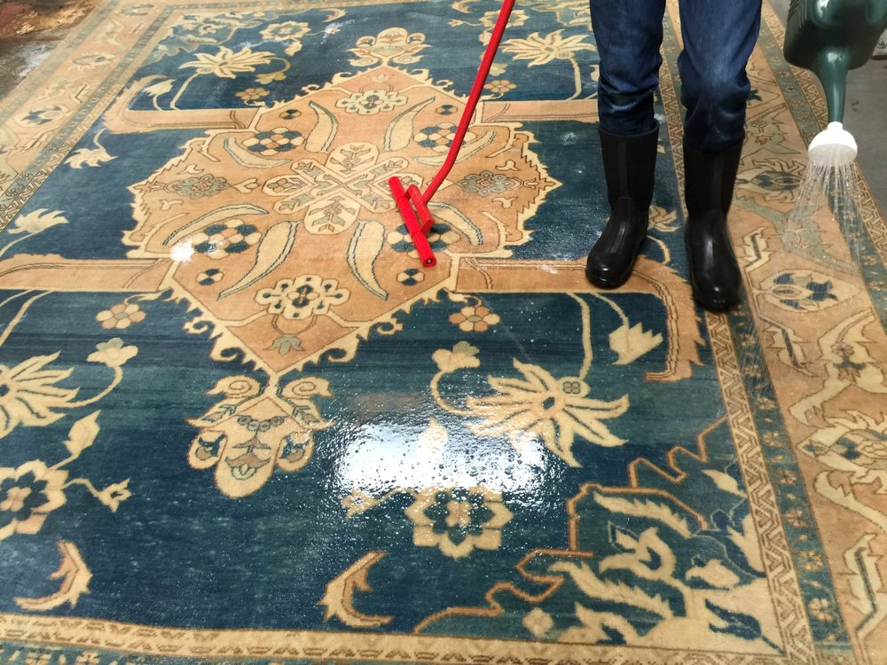 Modern Oushak Rug During Rinsing Phase