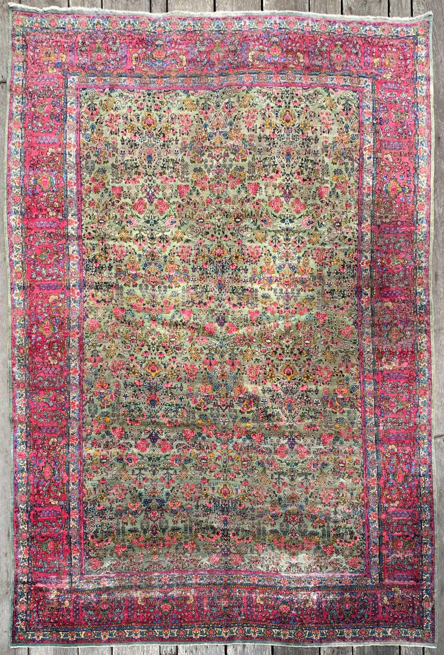 Steelman Rugs Antique 1920s Kerman Green Floral Persian Rug 8 9 X 12 11
