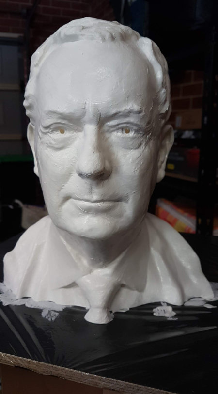 Surface processing of bust, front view, incomplete