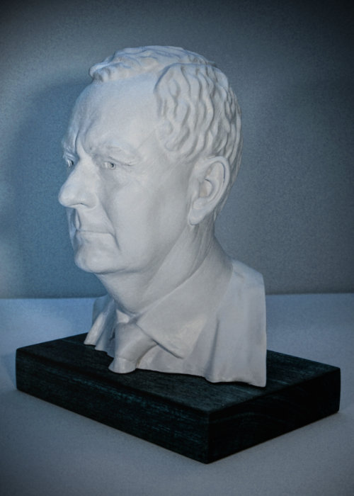3D printed bust, finished and mounted