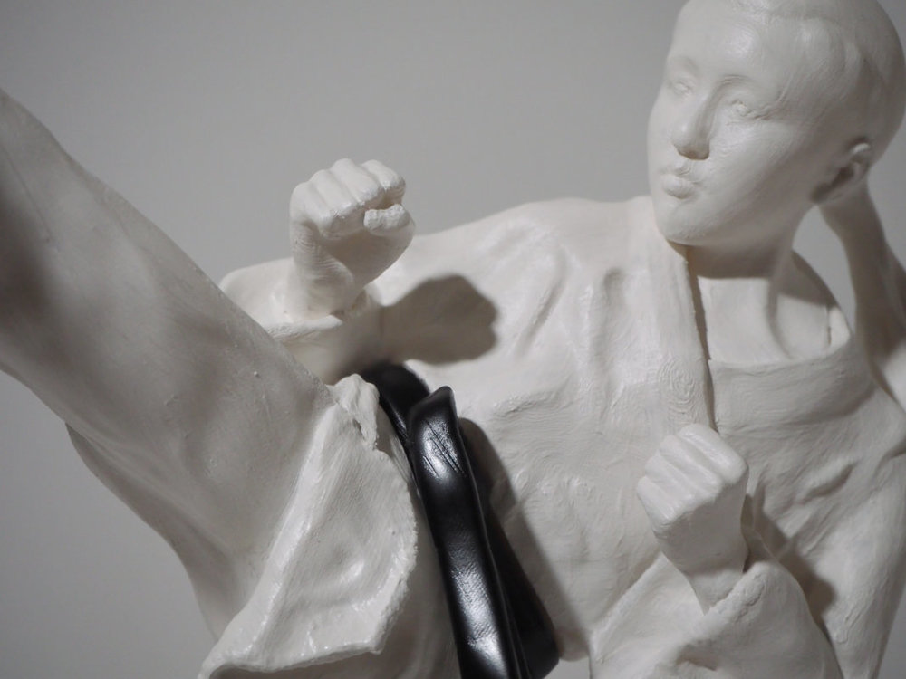 3D Printed Statuette of Karate High Kick, front detail