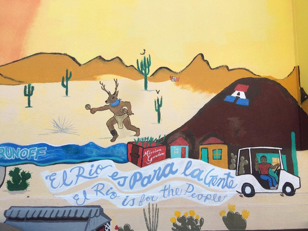 """""""El Rio es Para la Gente,"""" a mural by students at Manzo Elementary School, Tucson, Arizona. Credit: Katie Meehan"""