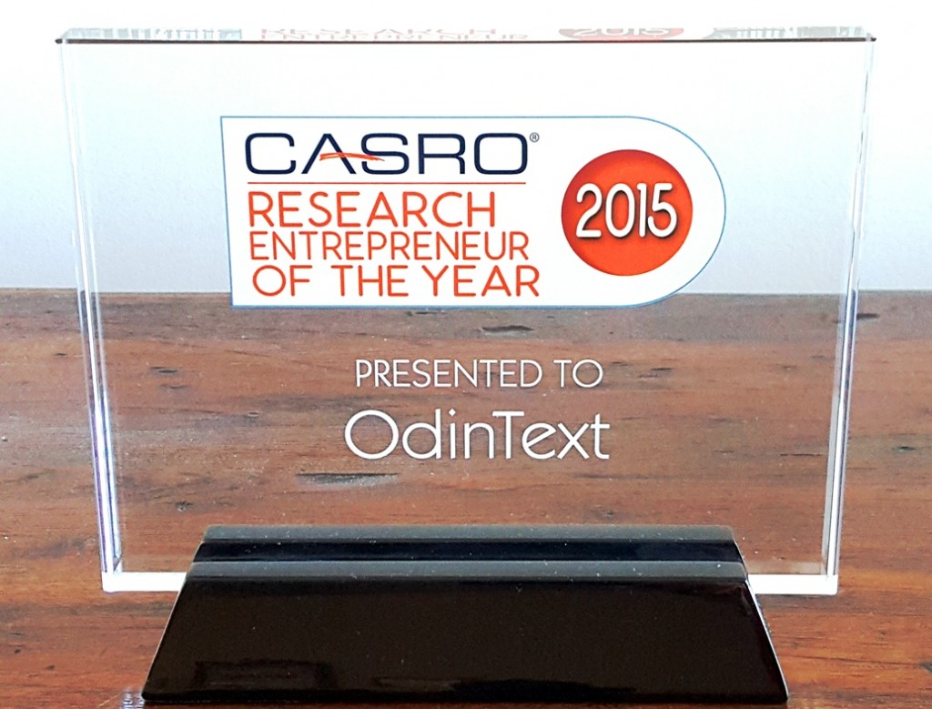 Best Text Analytics CASRO Award 2015 OdinText