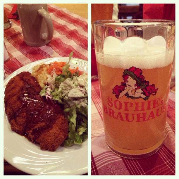 "First ""German"" meal:  schnitzel and a hefeweißen at Sophie's Brauhaus"