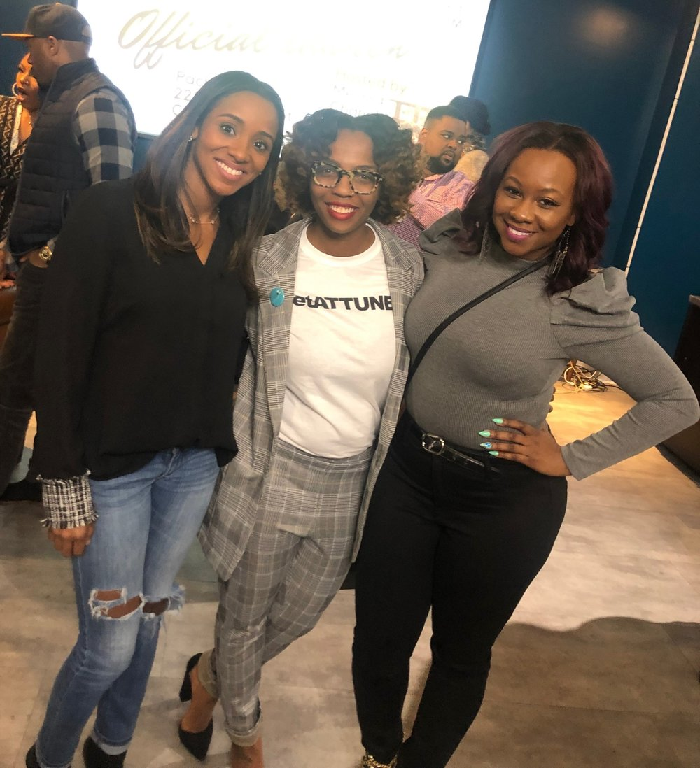 Pictured above, from left to right: Business Mogul Managing Editor, Shariah Green, Attune App Creator/Founder, Alicia Teeteh, and Business Mogul Founder/Editor-in-Chief, Dr. Sheria Rowe