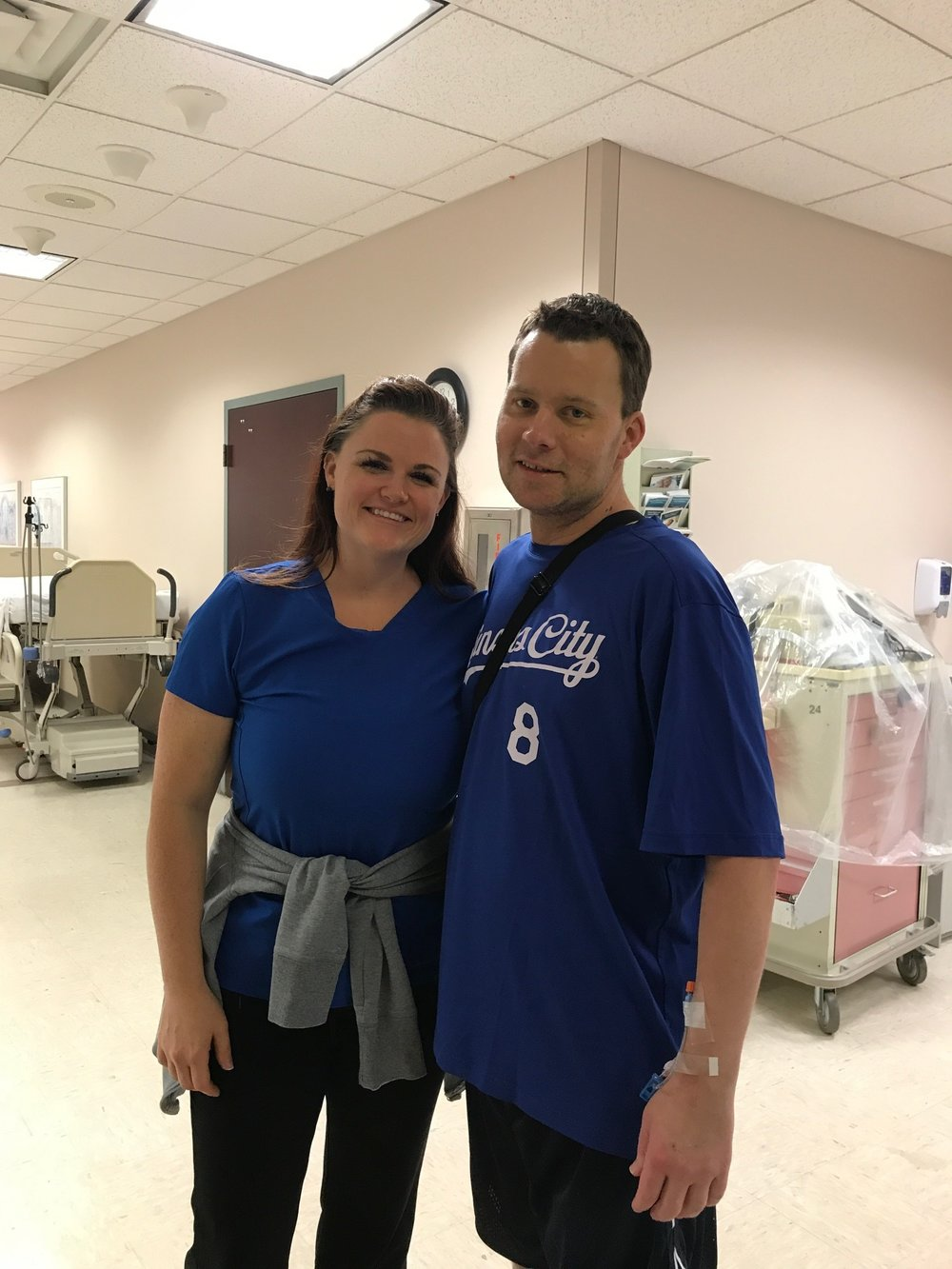 9/1/17 - Getting ready to leave the hospital saying goodbye to one of the nurses who saved me. I'm atrophied at 160 lbs with hardly any muscle (but my gut was still intact.)