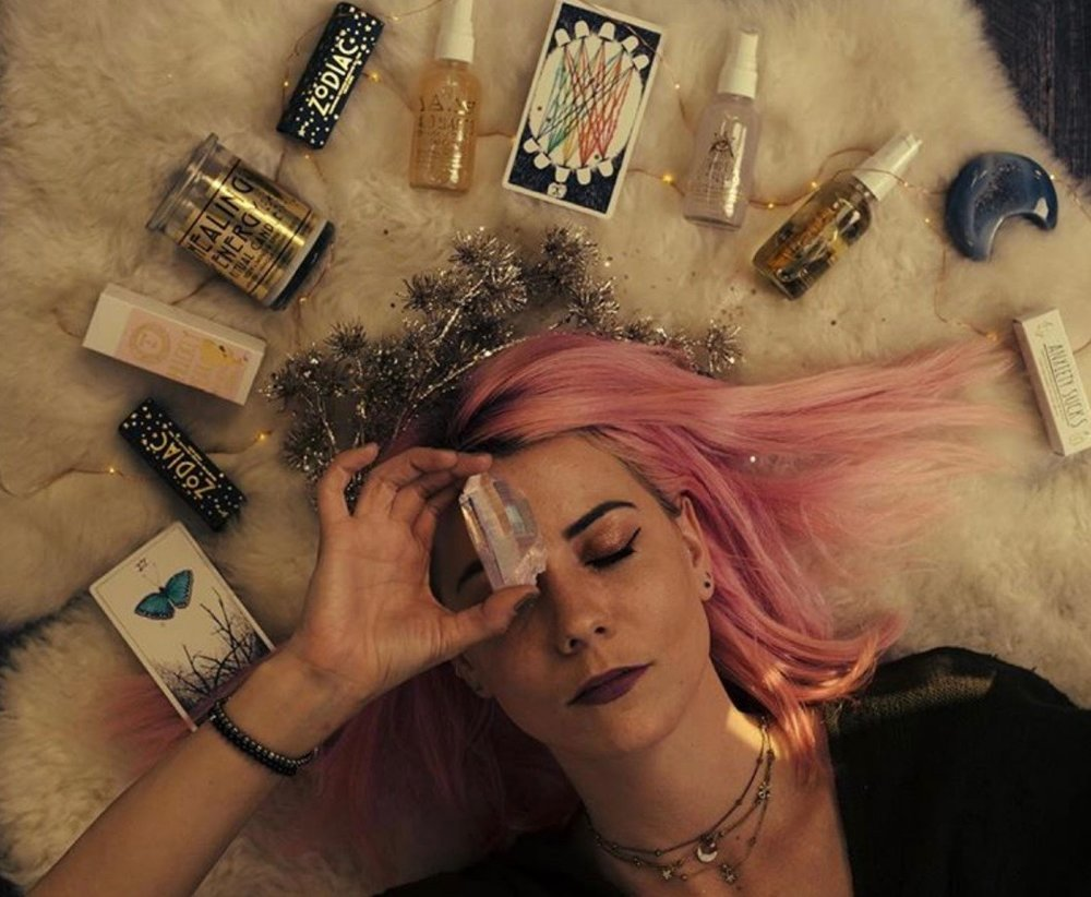 Girl with Natural Oils and Crystals