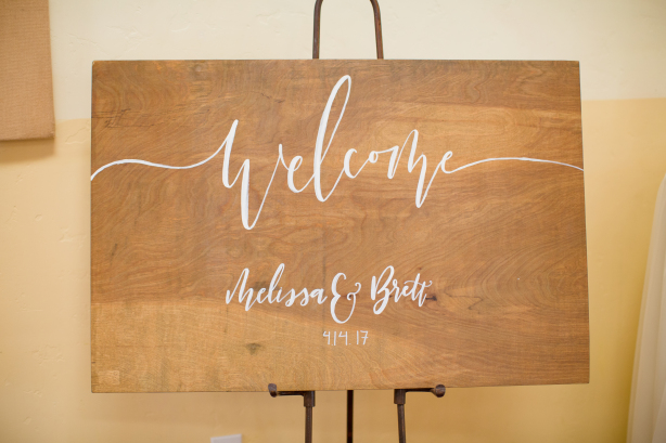 Custom Welcome Sign - hand painted on stained wood