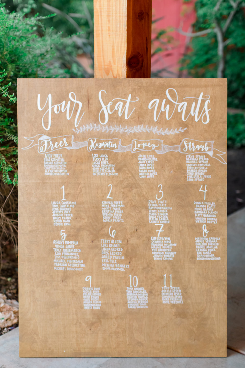 Custom Table Seating Chart - hand painted on stained wood