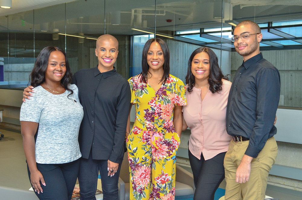 (From left-right) Denver Lark (North Carolina A&T University), Dana Blair, NNPA DTU Roadtrip Navigator; MC Lyte, Diamond Durant (Morgan State University) and Tyvan Burns (Norfolk State University) pose for a photo during the NNPA's DTU 2018 Immersion experience with Chevrolet. (Freddie Allen/AMG/NNPA)