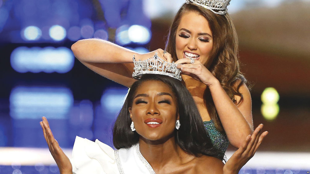 Miss New York Nia Franklin reacts after being named Miss America 2019, as she is crowned by last year's winner Cara Mund, Sunday, Sept. 9, 2018, in Atlantic City, N.J. (AP courtesy photo)