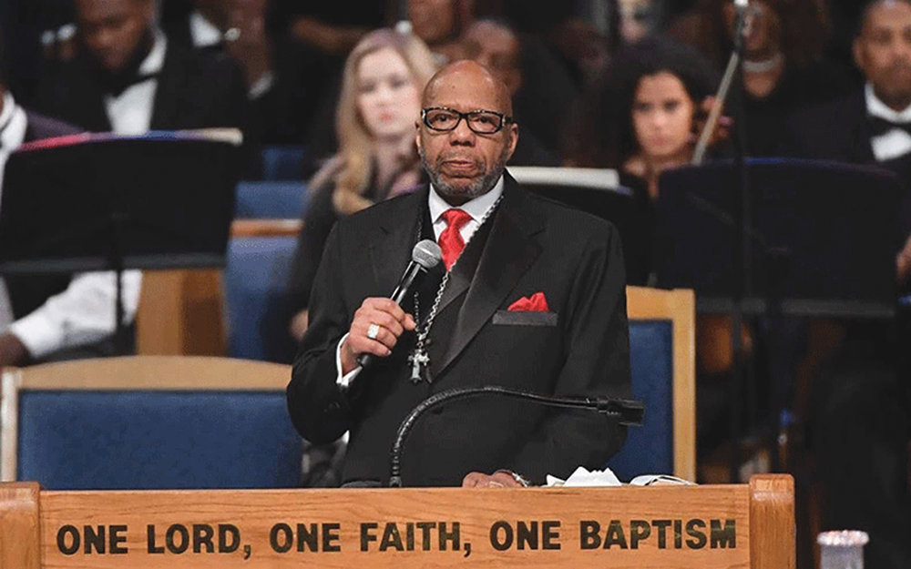 Rev. Jasper Williams Jr. delivering a controversial eulogy during the funeral service for Aretha Franklin, August 31, 2018. (AFP courtesy pic)