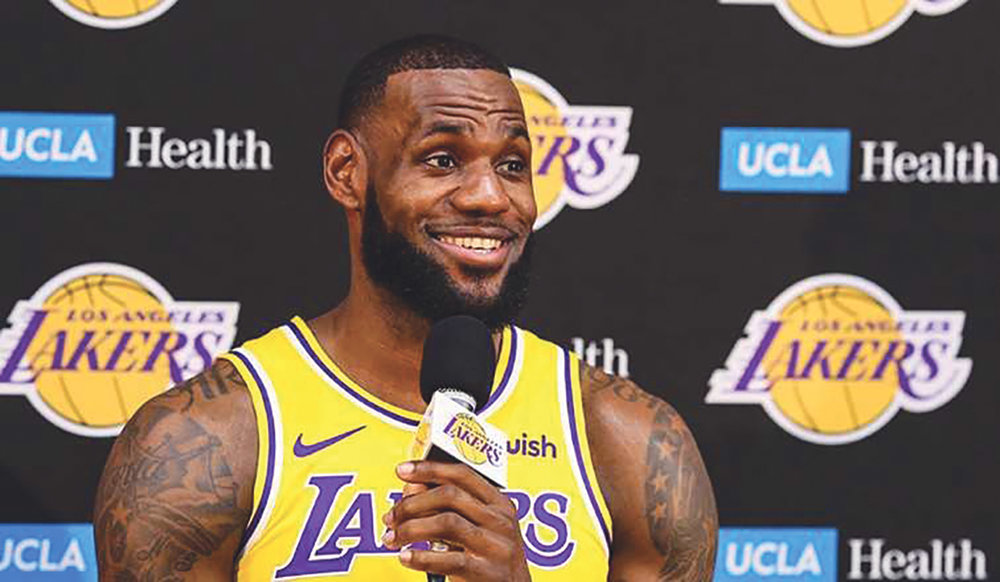 LeBron James speaks at Lakers 2018 media day. (Photo: Ryan Young- LA Lakers)