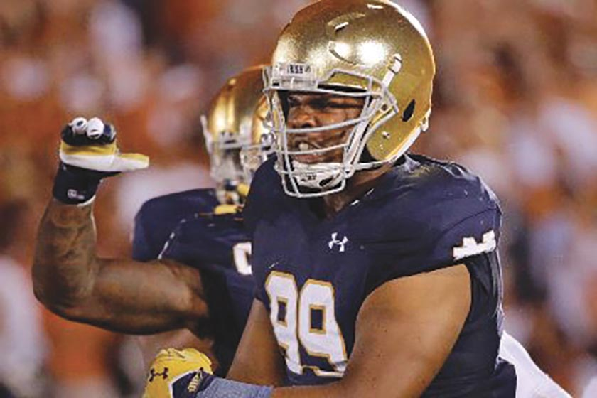 Jerry Tillery of Notre Dame had a big Game against Stanford. (Courtesy Photo)