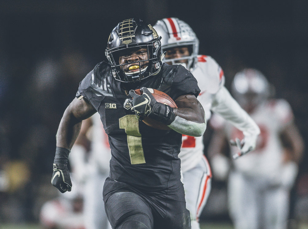 D. J. Knox running for the score vs. Ohio State. Knox brought back memories Purdue Walter Camp All-American Leroy Keys. (Purdue Athletics courtesy photo)