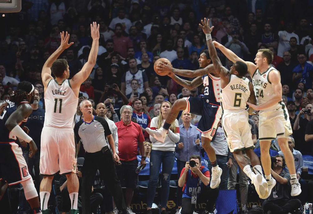 Lou Williams makes the game winning bucket for the Los Angeles Clipper vs. Milwaukee Bucks. (Courtesy photo)