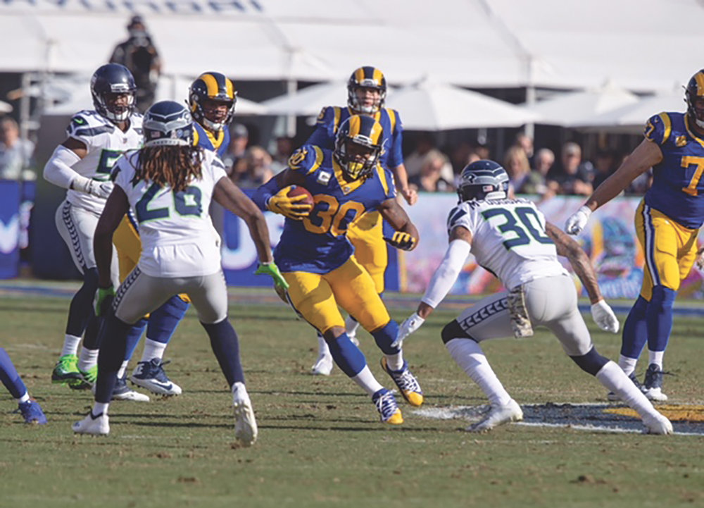 Todd Gurley makes his move on the Seattle Seahawks, Sunday Nov. 11. (Jevone Moore of Full Image 360 photo)