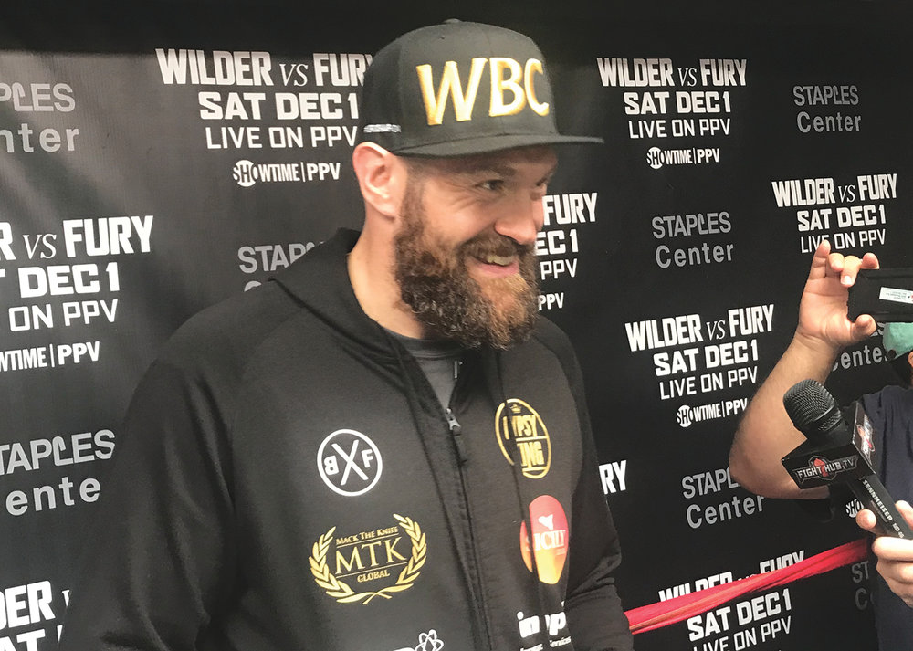 Tyson Fury at his media day workout in preparation for his heavyweight title fight vs Deontay Wilder in December 1st. (Cam Buford photo)