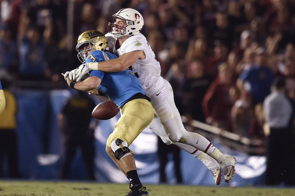Josh Rosen fumbles the ball on the final play against Stanford. (Kelvin Kuo-USA TODAY Sports)
