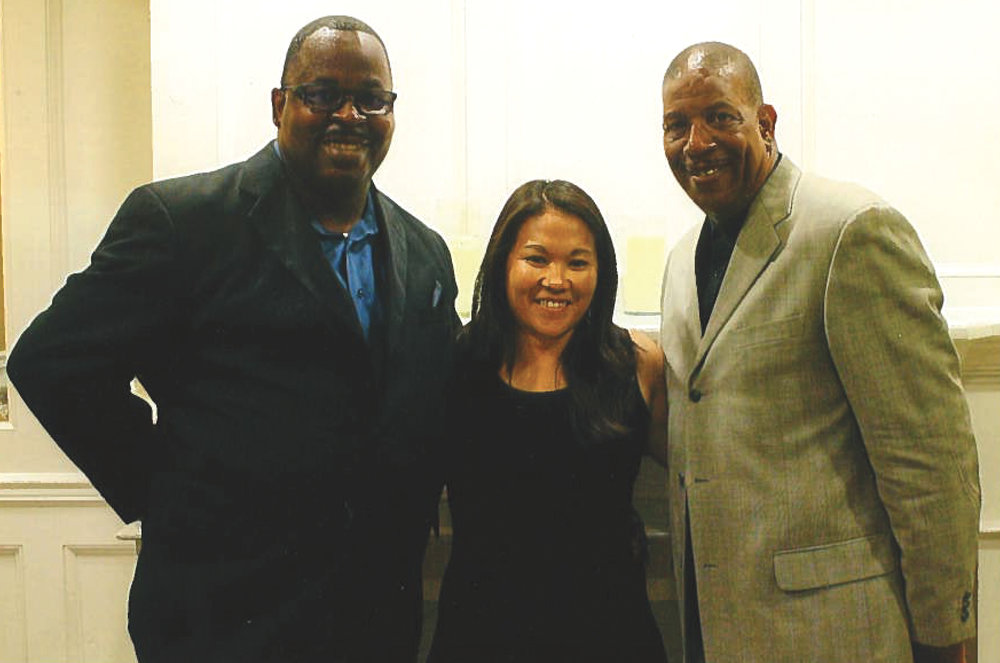 L to R-Jeffery Taylor Sr., Laurie Kamiyama -Athletic Director North Torrance High, Dwaine Harris-Championship game official. (Earl Heath Photo)
