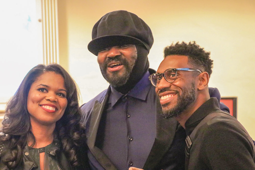 Gregory Porter (center) takes pictures with fans and supporters in his hometown of Bakersfield. (Carrington Prichett photo)