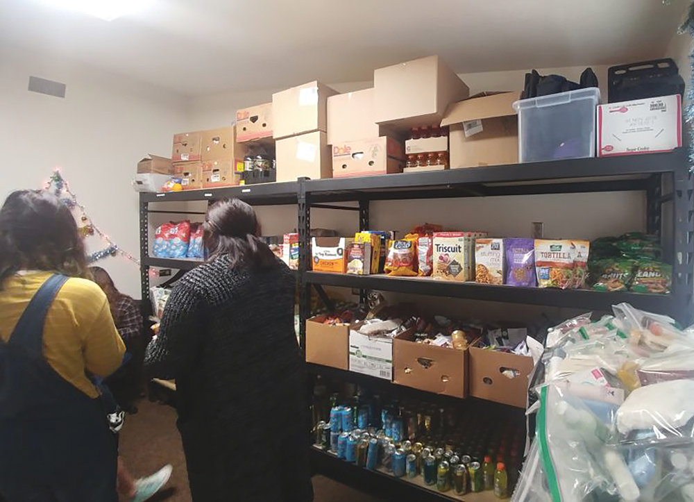 The shelves are stocked with food for students at BC's food pantry. (Jessica Manzo photo)