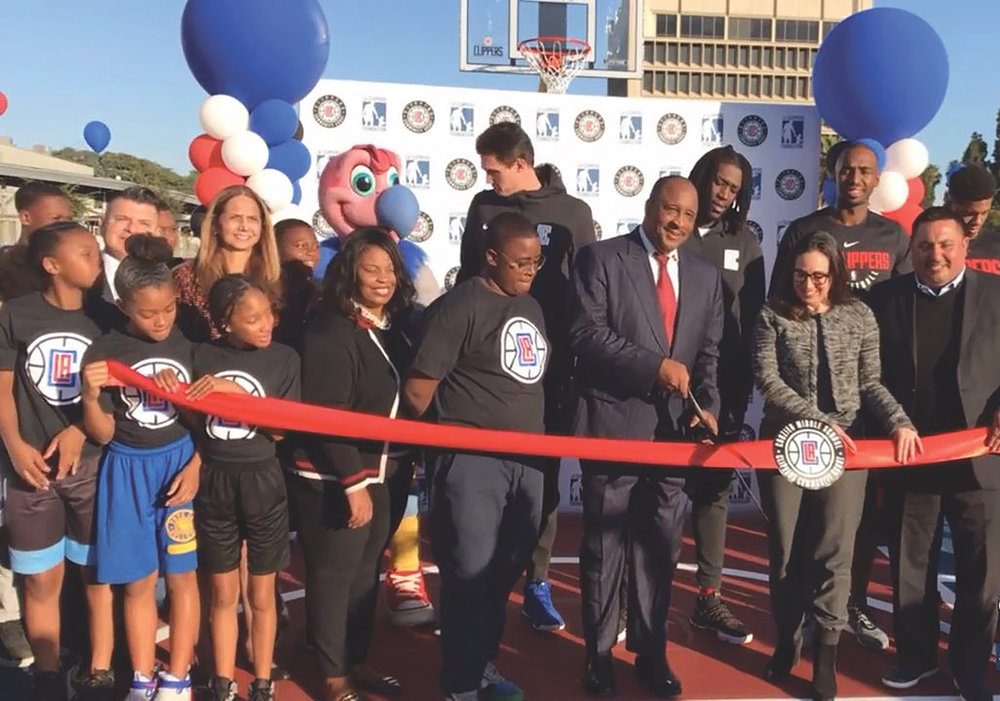 Front row-(L to R)- Inglewood Mayor James Butts, Clippers President of Business Operations Gillian Zucker, Inglewood City Council member 3rd District Eloy Morales. (Courtesy photo)