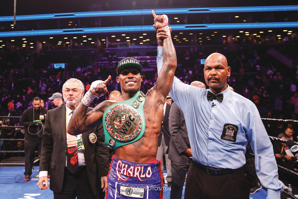 Jermall Charlo after being named victorious against Matt Korobov Saturday night at Barclays Center in Brooklyn, New York. (Stephanie Trapp/TGB Promotions photo credit)