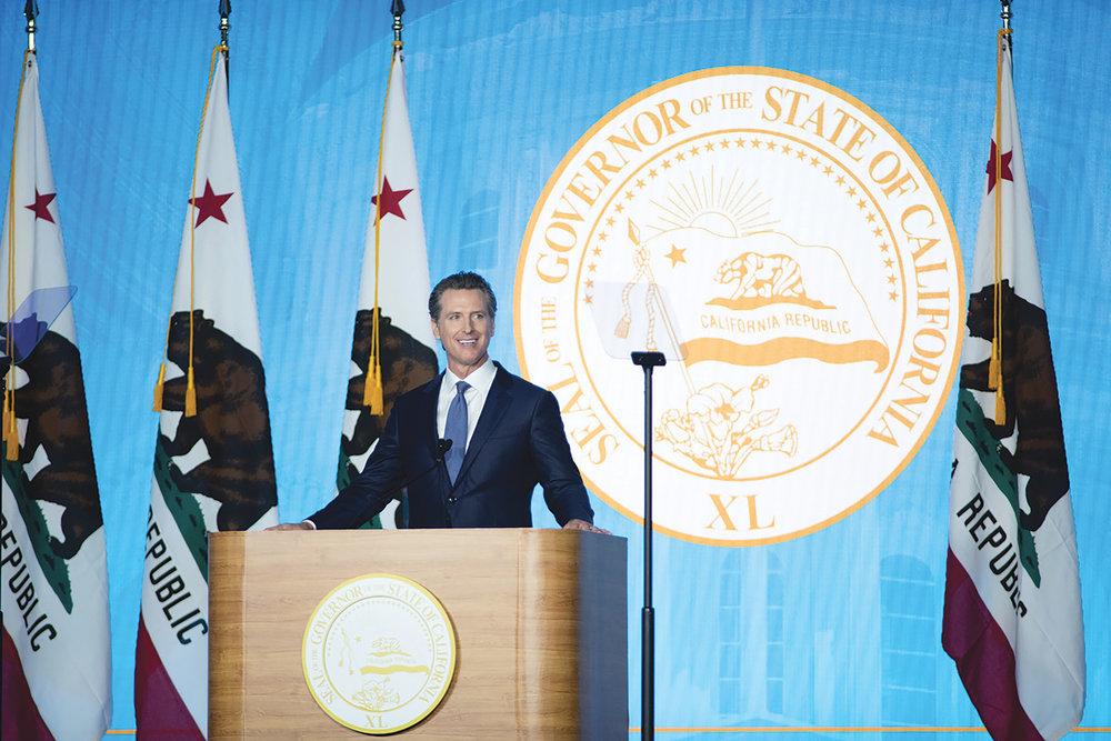 Gov. Newsom gives his inaugural address. (Photo By Robert Maryland,California Black Media)