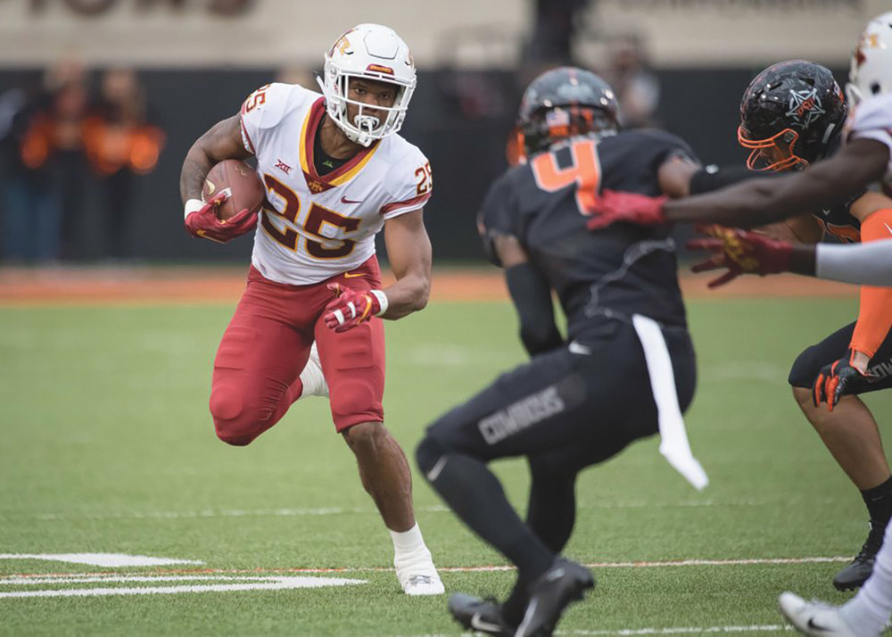 Oct 6, 2018; Stillwater, OK, USA; Iowa State Cyclones running back Sheldon Croney Jr. (25) runs the ball against the Oklahoma State Cowboys during the second half at Boone Pickens Stadium. Mandatory Credit: Rob Ferguson-USA TODAY Sports