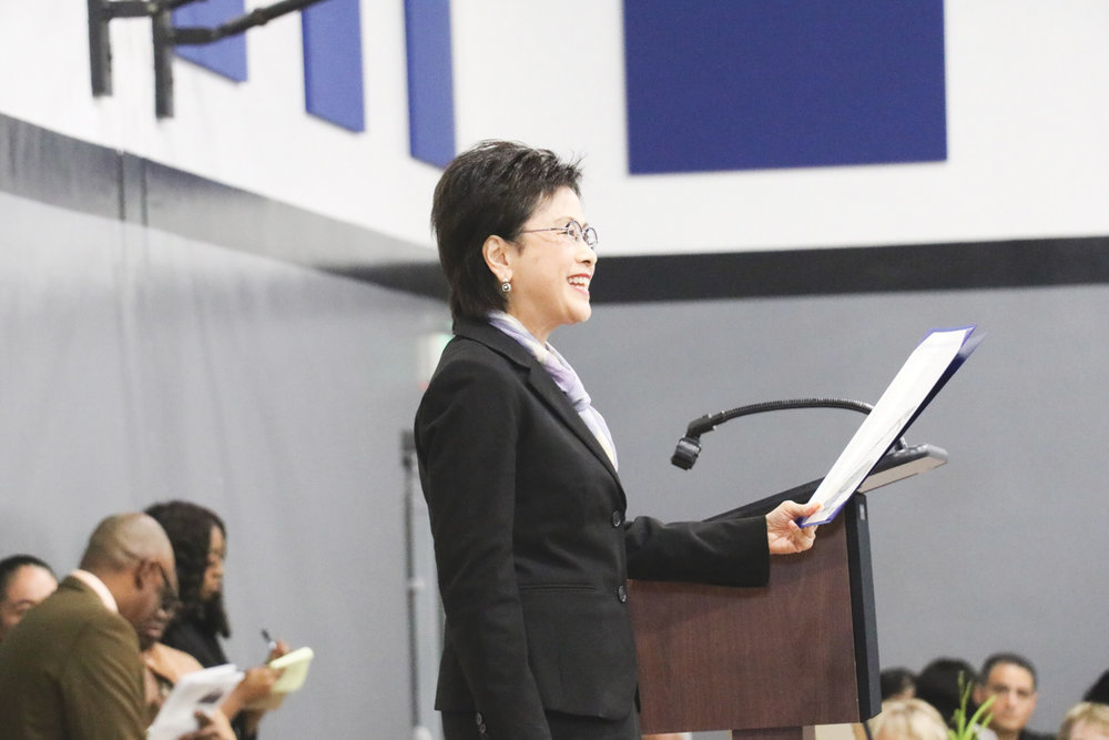 Mayor Karen Goh presenting a Martin Luther King Jr. Day proclamation. (Carrington Prichett photo)