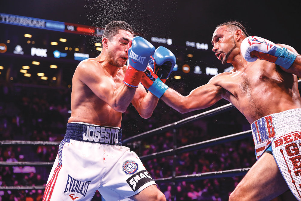 Keith Thurman catches Josesito Lopez with a clean uppercut on Saturday night. (Photo Credit to Stephanie Trapp/ TGB Promotions)
