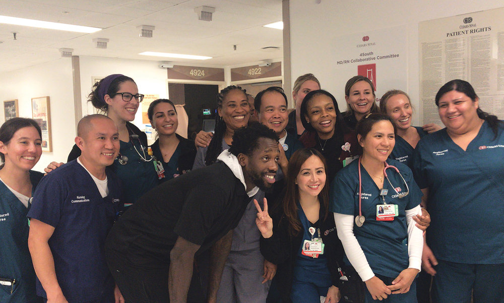 Los Angeles Clippers Guard Patrick Beverly visits and takes pictures with some of the nurses at Cedars-Sinai Hospital. (Cam Buford photo)
