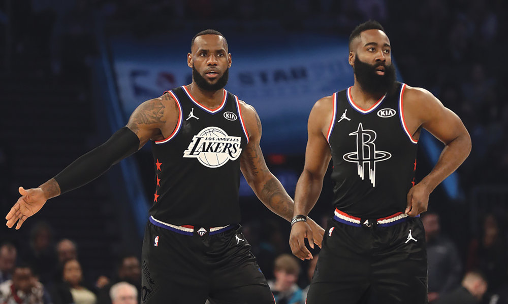 MVP candidates LeBron James (left) and James Harden (right) during the 2019 All-Star game this past weekend in Charlotte, North Carolina. (AP News photo)