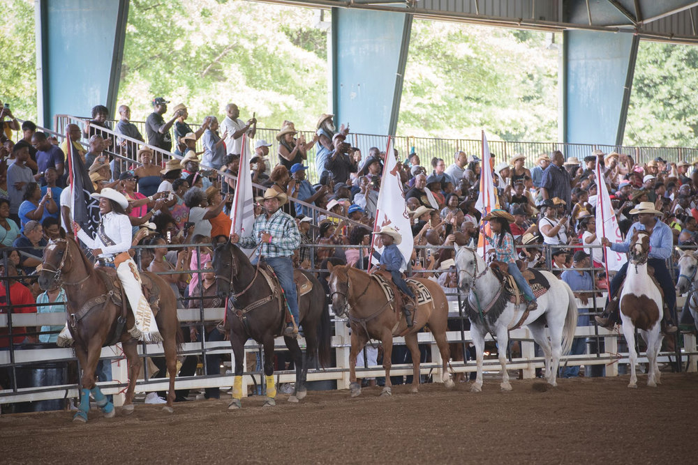 The Bill Pickett Invitational Rodeo grand entry. (Cyril Bailleul photo)